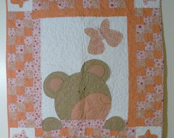 Bears and Butterflies  Baby Quilt