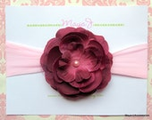 Deep Wine Silk Flower with Pink Pearl on Soft Light Pink Nylon Headband-Newborn and Up