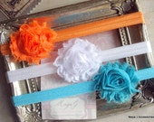 Baby Headbands-Set of 3-Orange-Turquoise-White-Infant Headbands-Shabby Chic-Baby Girl Headbands