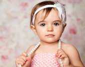 Baby Feather Headband-Infant Headband-Fascinator-White-Newborn Photo Prop-Toddler Headband-Adult Headband
