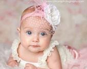 Baby Headbands, Pink Feathers, Birdcage Veiling, Infant Headband, Flower Headband Baby, Newborn Photo Prop, Toddler Headband