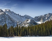 Bear Lake in Rocky Mountain National Park, Colorado during winter - From left to right - Storm Peak, Long's Peak, Pagoda Mountain and Chiefs Head Peak - 11x14 inch Photographic Print by Brendan Reals