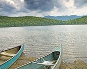 Canoes on Heart Lake, Adirondack Park, New York - 11x14 inch Photographic Print by Brendan Reals