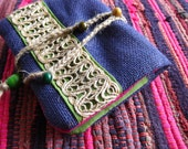 Indie Purse in Purple Jute - Passport Size Violet Traveling Folksy Card Holder with Rustic Hemp Trims