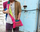 40% SALE - Reversible Shoulder Sling Bag in Bright Pink Jute - Small Indie Handmade 2 in 1 Monk Bag - Neon Fluorescent Lime Green