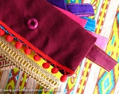 Red Clutch Purse - Gypsy Clutch in Maroon Red Pompom, Blue, Yellow Bohemian Combination