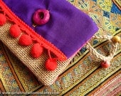 Mexican Purple Coin Purse in Jute with Gypsy Pompom - Small Card Holder with Red Pompom