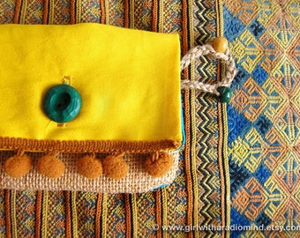 Gift for her - Coin Purse Wallet - Jute Gypsy Sunshine Yellow - Small Happy Card Holder