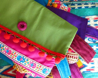 Gypsy Clutch Purse in Green and Pink - Mexican Folk Inspired - Indie Handmade with Jute and Cotton