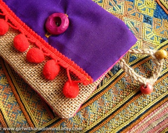Purple Coin Purse Mexican in Jute with Gypsy Pompom - Small Card Holder with Red Pompom