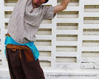 Waist Pouch in Turquoise Blue / Unisex Indie Festival Hip Bag  - In Sky Blue and Yellow Duo Combination