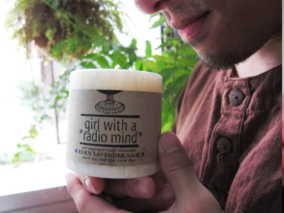 Handmade Pillar Candle - Eden Lavender Sage Scent / Original Cream White Crystal Palm Wax - Environmental Friendly -