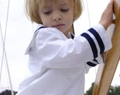SHIRT AHOI, White Children's and Babies' Sailor Shirt with Blue Stripes, Long Sleeves, Sailor Collar,Wide Loose Fit, Maritime Baptism
