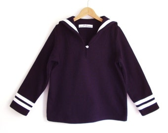 SWEATER AHOI, Sportive Navy Blue Children's Sailor Sweatshirt With White Stripes, Long Sleeves, Cosy Soft Cotton, Sportive Maritime Sweater