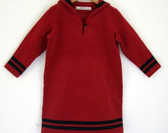 DRESS DAYLIE CORDUROY, Red Girl's Corduroy Sailor Dress With Blue Stripes, Long Sleeves, A-Shape, Knee-Length, Cotton,Maritime Winter Dress