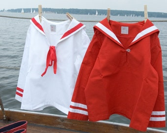 SHIRT AHOI, White Long-Sleeve Babies' and Children's Sailor Shirt With Red Stripes and Red Ribbon Bow, Maritime Baptism, Summery Wedding