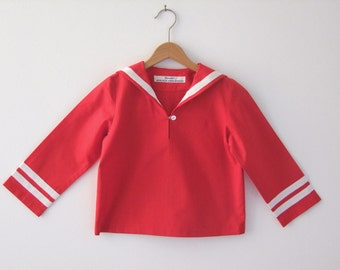SHIRT AHOI, Red Long-Sleeved Babies' and Children's Sailor Shirt With White Stripes, Summer Shirt, Maritime Cotton Shirt