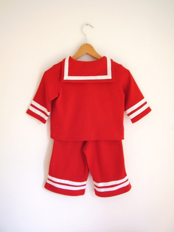 BABY SUIT AHOI, Cosy Two-piece Red Sailor Baby Suit With White Stripes, Cotton Jersey Shirt and Pants,Maritime Baptism,Family Portrait,