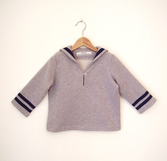 SWEATER AHOI, Sportive Light Grey Children's Sailor Sweatshirt With Blue Stripes, Long Sleeves, Cosy Soft Cotton, Sportive Maritime, Autumn