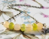 Stone Beaded Necklace - Green Korean Jade Stone Beads, Natural Stone, Antiqued Brass Chain