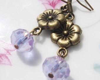 Lavender Flower Earrings - Swarvorski Crystal