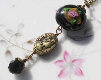 Black Rose Bead Necklace with Cameo