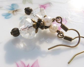 Crystal and Glass Pearl Earrings