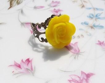 Yellow Rose Antiqued Brass Ring