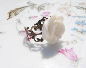 White Rose Antiqued Brass Ring