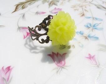 Lime Flower Brass Ring