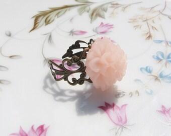 Light Pink Flower Brass Ring