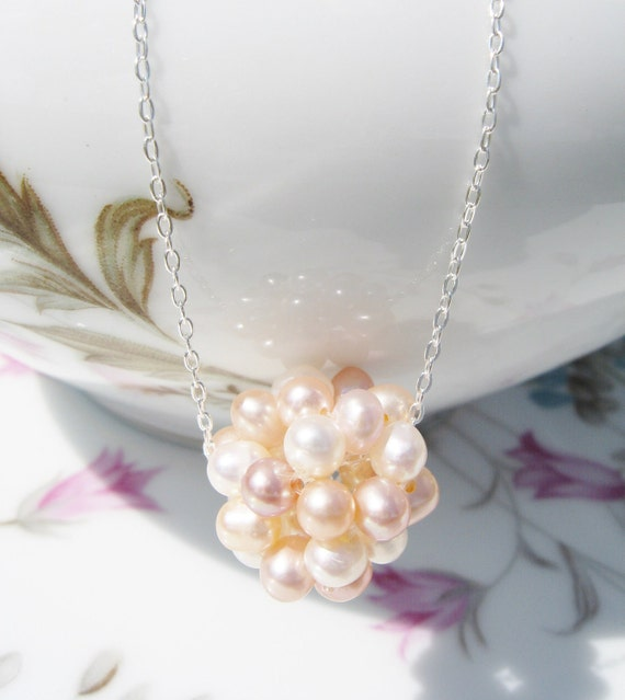 Pearl Necklace - Cluster of Pink, Peach, Rose, Blush, Mauve, Pearl Ball, Sterling Silver Chain