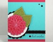 Pink dahlia best wishes card