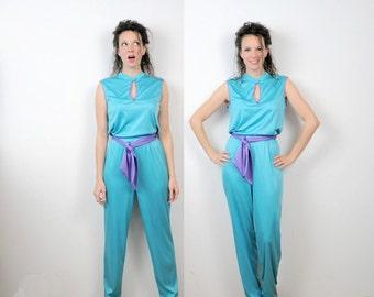 Turquoise Jumpsuit Teal Playsuit Purple Details Romper Small 1970s