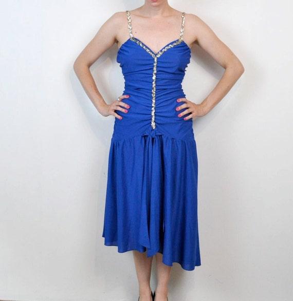 Blue Disco Dress Dancing Club Formal Evening Royal Medium Large