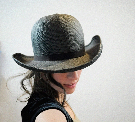 Black Straw Hat Round Top Bowler Ribbon