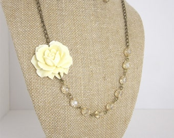 Champagne Wedding Jewelry Ivory Beaded Flower Necklace Champagne Bridesmaid Jewelry Rustic Wedding Bridal Jewelry
