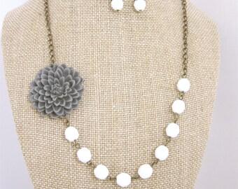 Gray Necklace Grey Necklace Flower Necklace Wedding Jewelry Bridal Jewelry