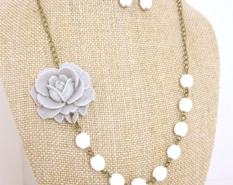 Gray Flower Necklace Gray Necklace Gray Jewelry Bridesmaid Jewelry Set Grey Bridesmaid Necklace Rustic Wedding Jewelry