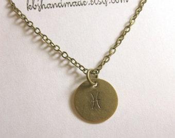 Pisces Necklace Custom Zodiac Necklace Zodiac Jewelry Astrological Jewelry Pisces Jewelry