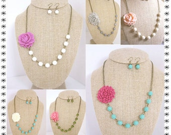 Bridesmaid Jewelry Sets Design Your Own Flower Necklace Wedding Jewelry Bridesmaid Necklace Beaded Flower Necklace