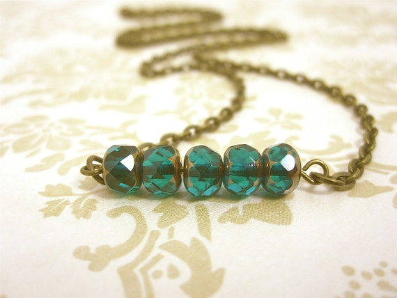 Teal Necklace Czech Glass Bead Bar Necklace Teal Jewelry Beaded Necklace