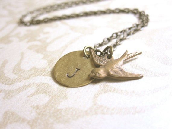Personalized Sparrow Necklace Custom Initial Necklace Personalized Jewelry Bird Necklace Gift for Her