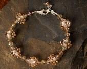 Cream Lampwork Bead and Crystal Bracelet - Kate Bracelet