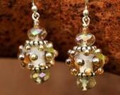 Champagne Lampwork Bead and Crystal Earrings - Kate Earrings