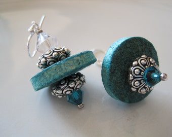 Cork Earrings with Swarovski Crystals, Silver Accents in Turquoise Blue - Upcycled Wine Cork
