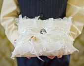 Wedding Ring Pillow / Vintage Style Brooch Heirloom Pillow