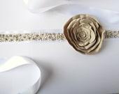 Beaded Belt Bridal Sash Swarovski Crystal and Large Bridal Satin Flower