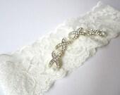 Ivory lace Wedding Garter / Diamonte row SET