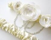 Bridal Garter Set Elegant Wedding Ivory with clear bead loops